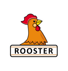 Chicken rooster logo template place for text vector