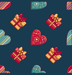 christmas background hearts and gift box vector image