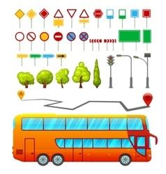 City transport elements set vector