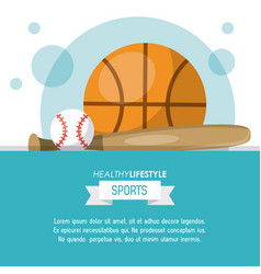 colorful poster of healthy lifestyle sports with vector image