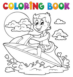 Coloring book water sport theme 2 vector