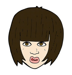 comic cartoon annoyed girl with big hair vector image