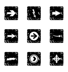 Cursor icons set grunge style vector image