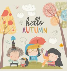 Cute children meeting autumn with little animals vector