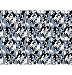 Different people crowd seamless pattern gray and vector