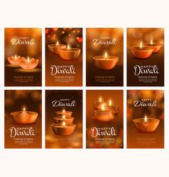 diwali festival light banners with diya lamps vector image