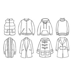 Doodle set of clothes for spring autumn winter vector
