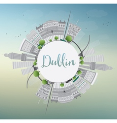 Dublin Skyline with Gray Buildings Blue Sky vector