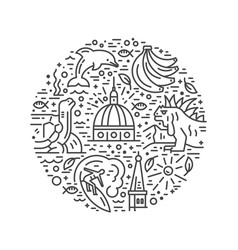 Ecuador symbols circle vector