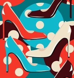 Elegant woman shoes seamless pattern vector image
