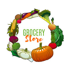 farm vegetables and greneery frame vector image