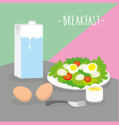 food meal breakfast dairy eat drink menu vector image