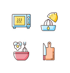 food recipe rgb color icons set vector image