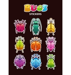 Funny cartoon style bugs stickers vector