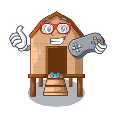 Gamer chicken in a on charater coop vector