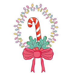 Garland with candy cane and ribbon bow vector