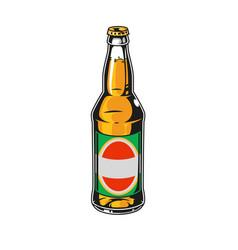 Glass bottle full lager beer vector