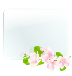 Glass frame with apple flowers vector