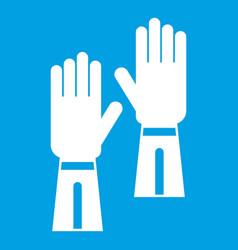 Gloves icon white vector