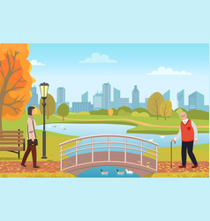 Grandpa with walking stick and woman in city park vector