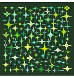 Green yellow star collection over deep green vector