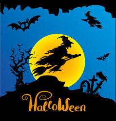 Halloween witch flying on broomstick vector