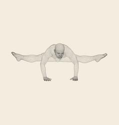 hand standing pose man doing yoga exercises vector image