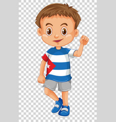 happy boy wearing shirt of cuba flag vector image