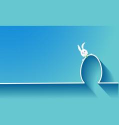 happy easter skyline rabbit and egg flat design vector image