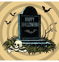 Happy Halloween grave tombstone cemetery skull and vector