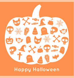 happy halloween pumpkin card and icon vector image