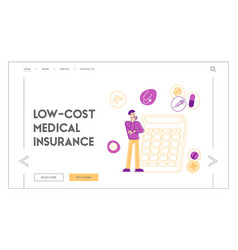 Health care and drugs cost landing page template vector
