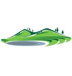 Hills and lake vector