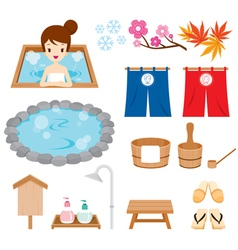 Hot Spring Objects Icons Set vector
