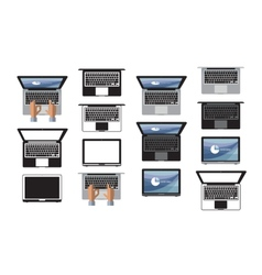 Laptop icon set Icon symbol technology Internet vector image