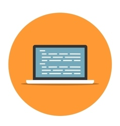 Laptop with coding icon vector image