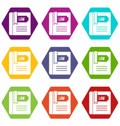 law book icon set color hexahedron vector image