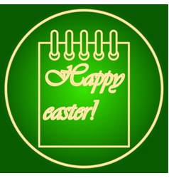 Leaf of the calendar in the neon circle easter vector