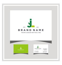 Letter jl leaf logo design and business card vector