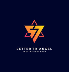Logo letter triangle gradient colorful vector