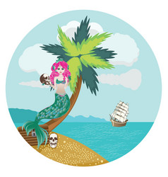 Mermaid tropical life vector