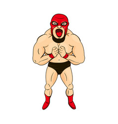 Mexican wrestler in cartoon style character vector
