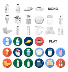 Milk product flat icons in set collection for vector
