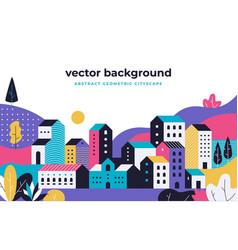minimal cityscape flat geometric background vector image