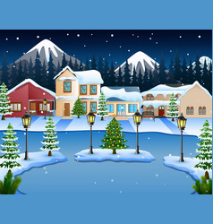 night winter village landscape with a mountain bac vector image