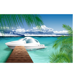 ocean landscape with yacht vector image