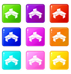 office table icons set 9 color collection vector image