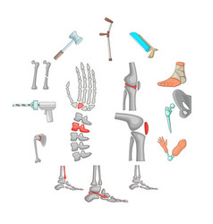 orthopedic and spine icons set cartoon style vector image