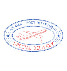 Oval postmark with plane blue and red stamp vector