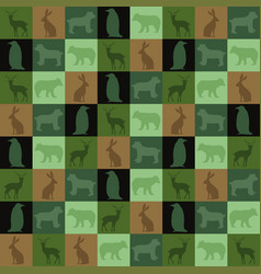 patchwork silhouette animal wallpaper seamless vector image